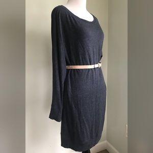 Lou & Grey Long Sleeve Blue  Shift Sweater Dress